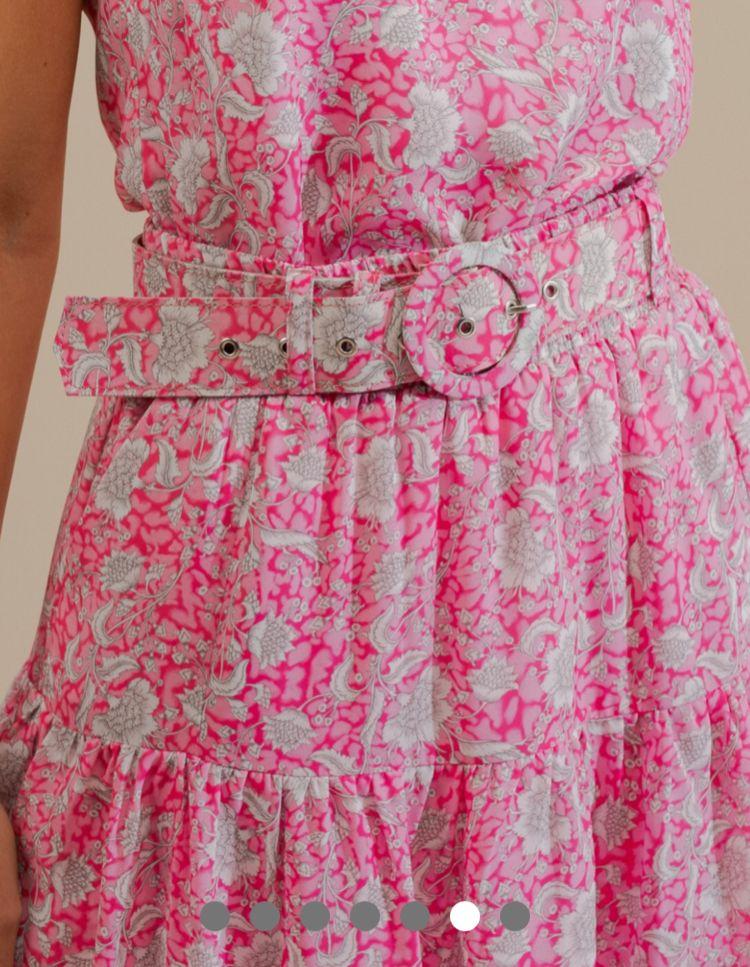 Saia Larissa Crepe Estampa Floral Detalhe Camadas + Cinto
