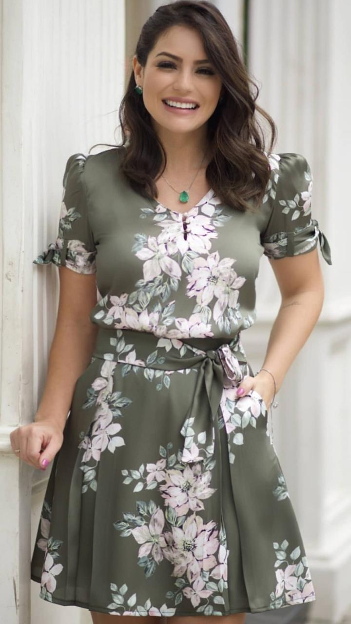 Saia Liliane Crepe floral Cores: Terra cota e verde