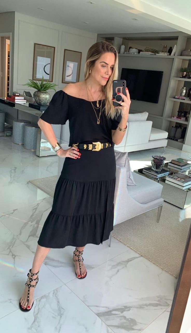 Saia Lorena Midi Crepe Três Marias