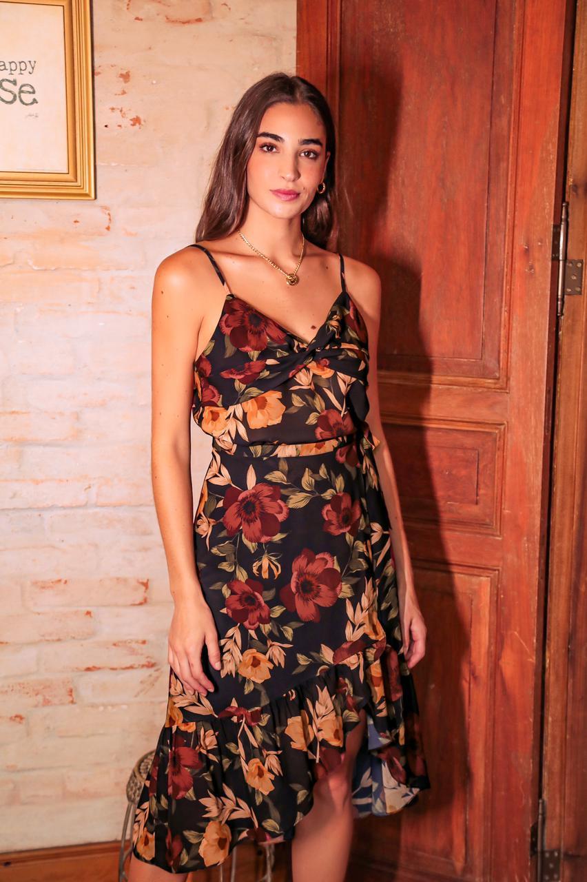 Saia Monica Floral Crepe Transpassada Com (Forro)