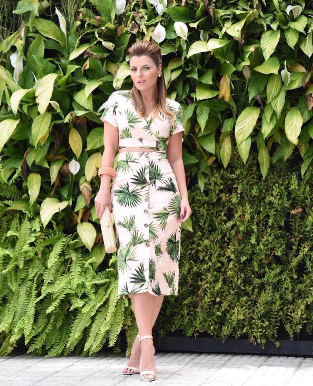Saia Perla Linho Midi Floral Print