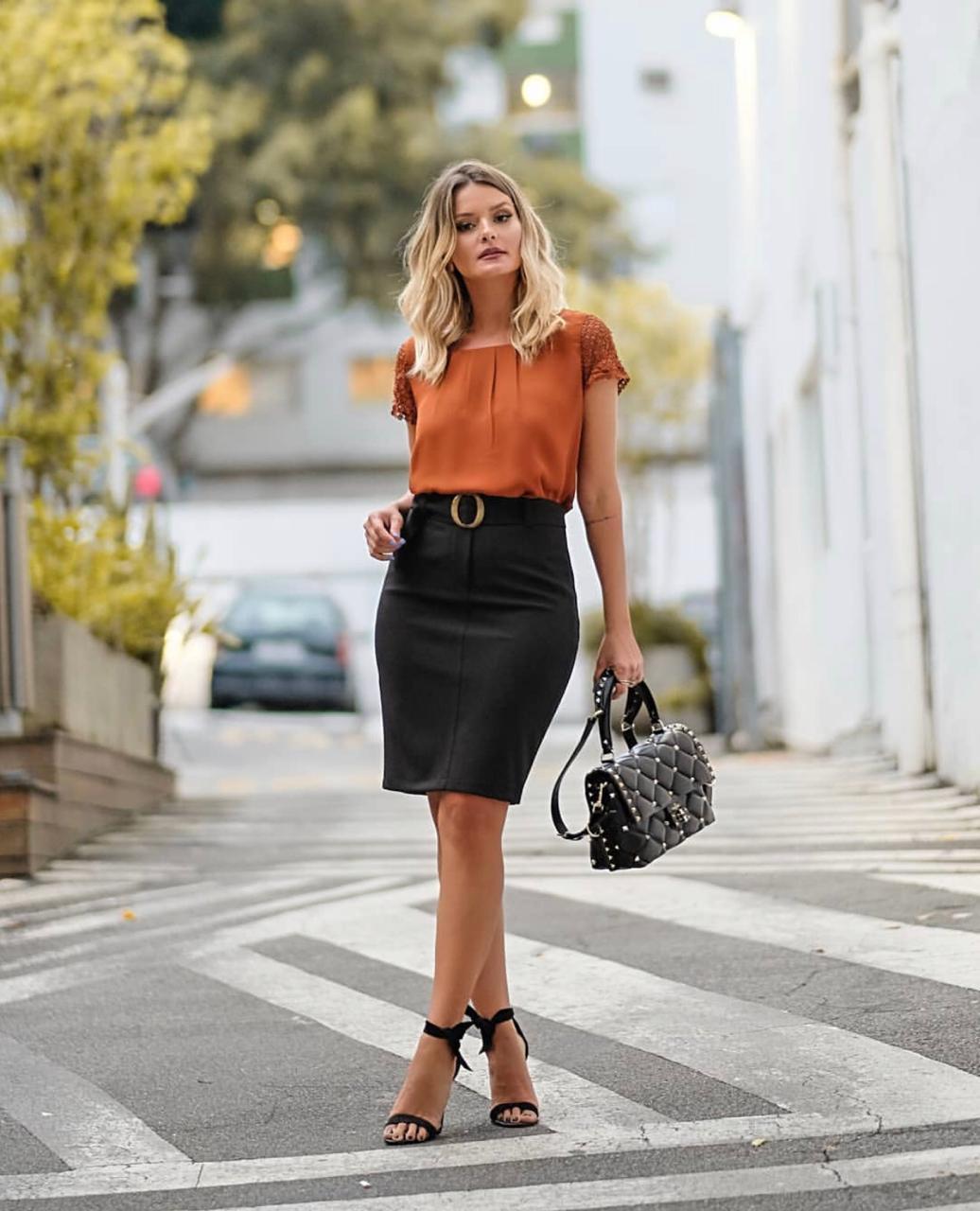 Saia Viviane Crepe com 4% Elastano Cintura Elastico + Cinto