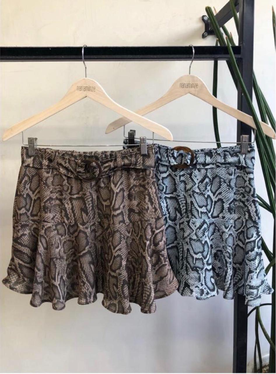 Shorts Saia Paloma Crepe Print  Cores Cinza e Cafe