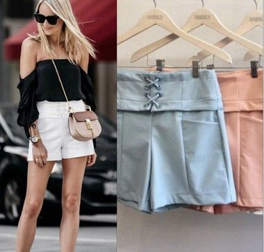 SHORTS BELLE 10% DE ELASTANO CORES OFF, PRETO E ROSE