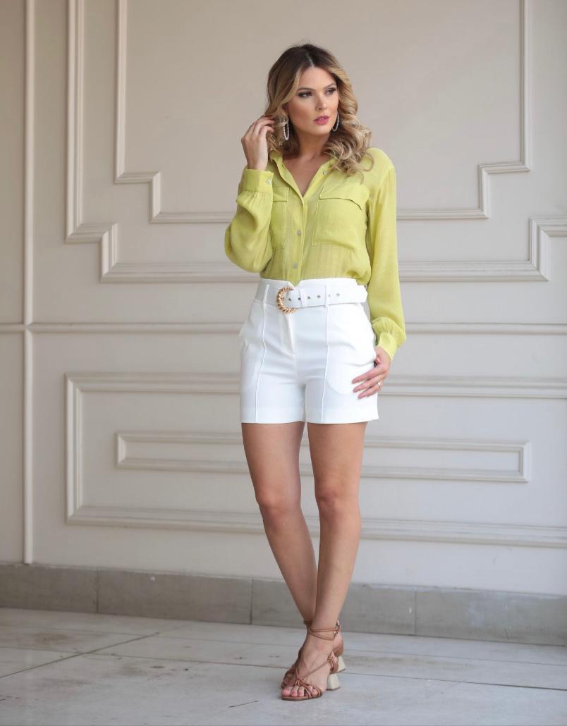Shorts Bianca Alfaiataria Com Cinto