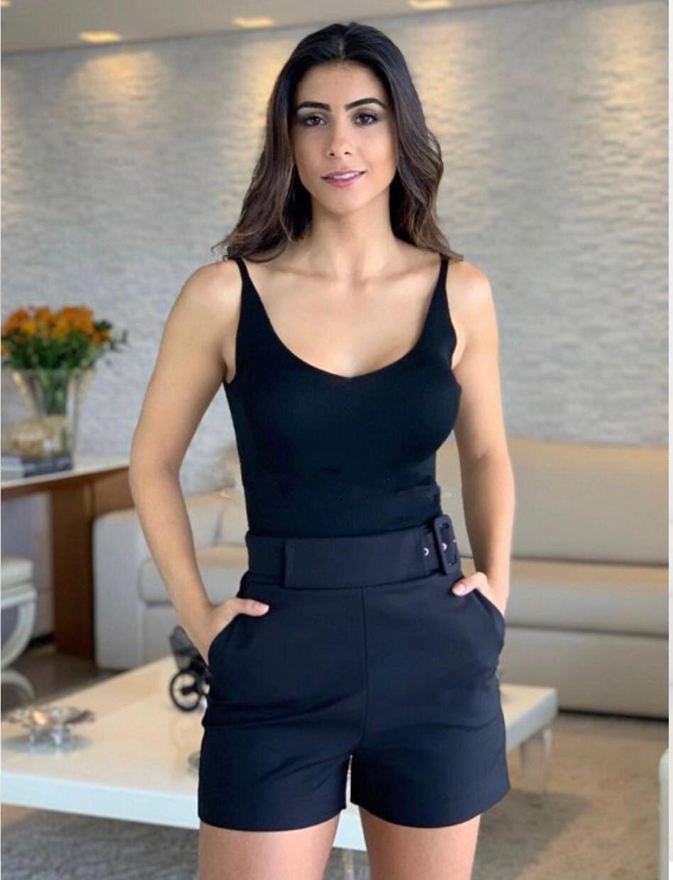 Shorts Carol Unique Sarja 3% Elastano Cores Verde Militar e Preto