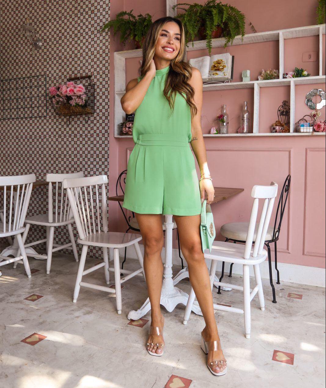 Shorts Cassia Crepe Twill (Forro) Cos Elastico Detalhe Pregas