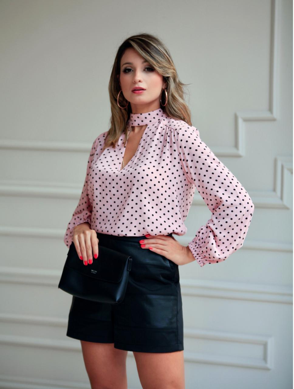 Shorts Celina Alfaiataria Doubler Com Detalhe Couro