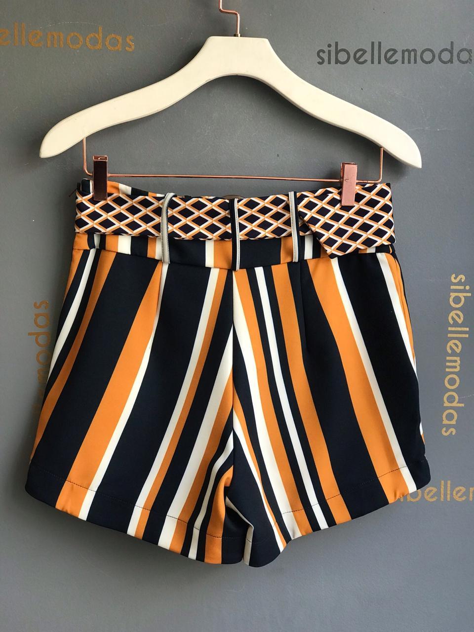 Shorts Cibele Alfaiataria Crepe Compose + Cinto