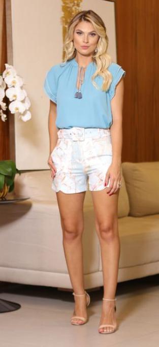 Shorts Karmani Crepe Floral Com Cinto  4% Elastano