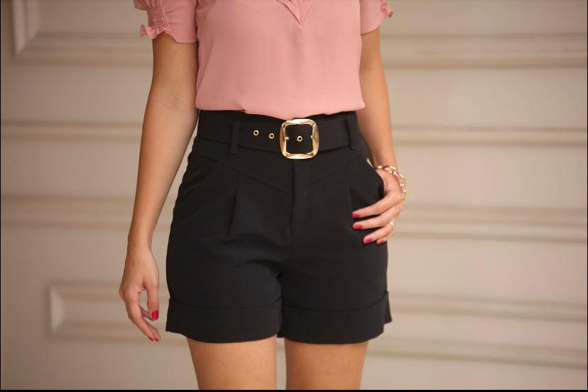 Shorts France Crepe C/ Cinto  5% Elastano