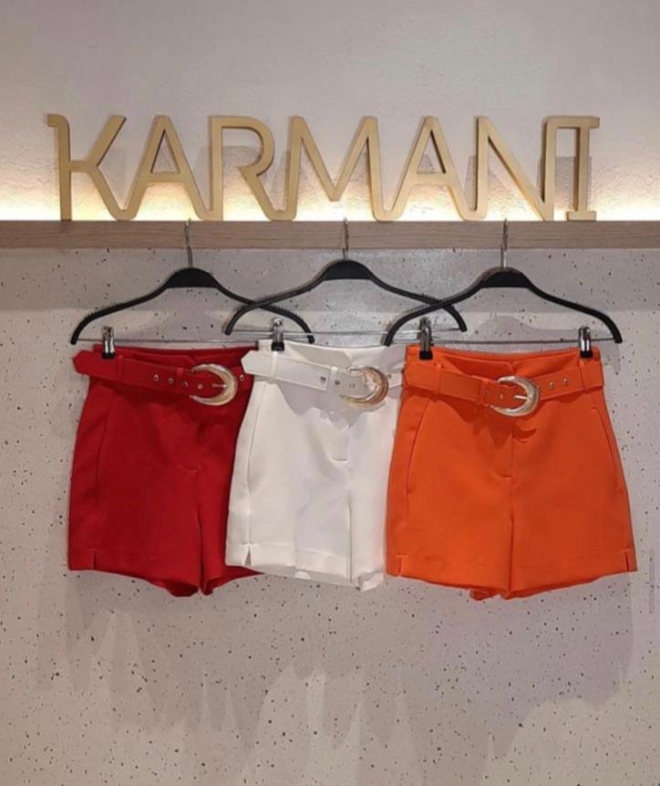 Shorts Karmani Alfaiataria Com Detalhe Barra 4% Elastano