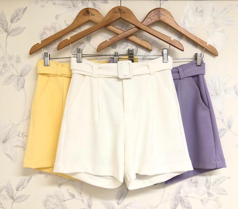 Shorts Leticia Crepe De malha 4%Elastano C/cinto