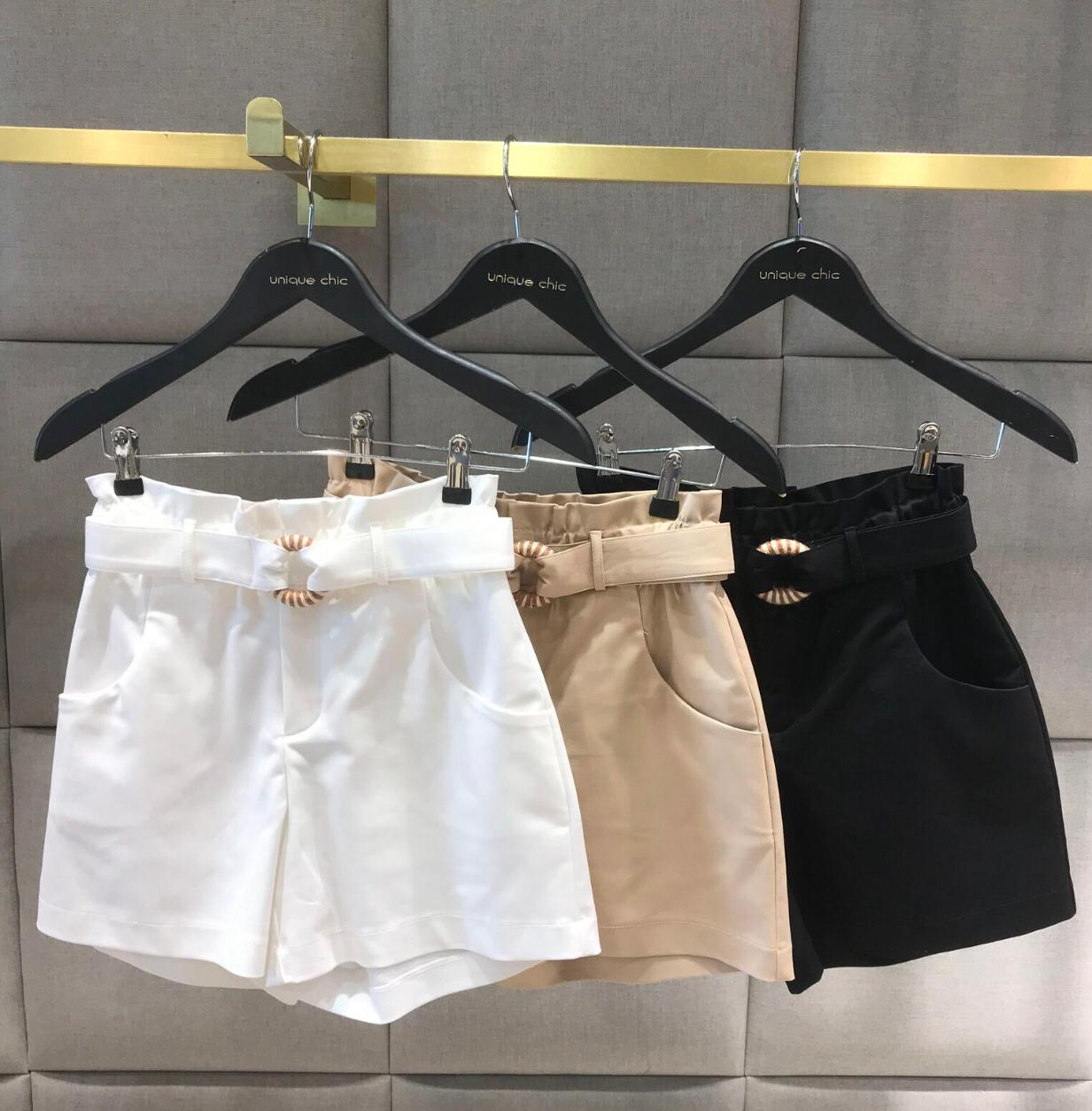 Shorts Liberty Unique  Sarja  Detalhe Argola Cordão 3 % Elastano + Cinto
