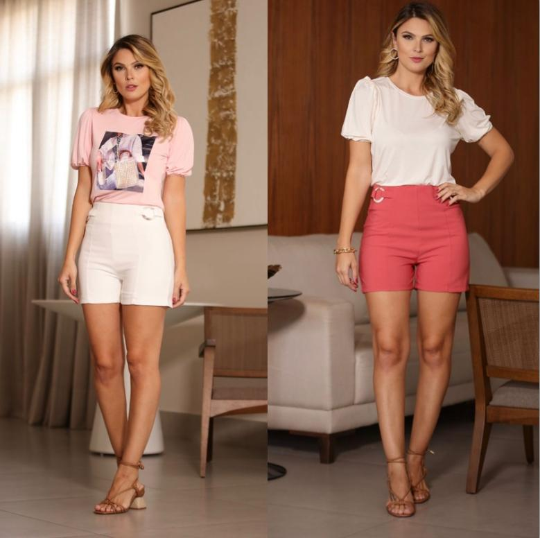 Shorts Luana Crepe com detalhe  de Argola na  Lateral 7% Elastano