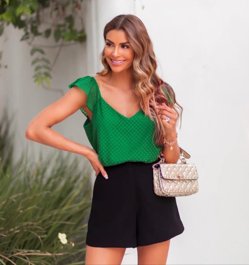 Shorts  Luciana  Alfaiataria  Crepe
