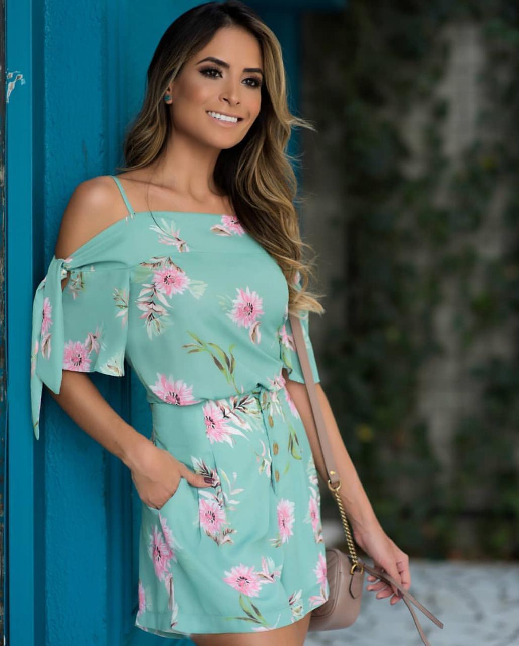 Shorts Luciana Crepe Floral abotoamento