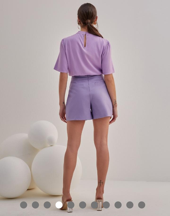 Shorts Marisa  Unique Alfaiataria Pregas Detalhe Trança Bolso 4% Elastano