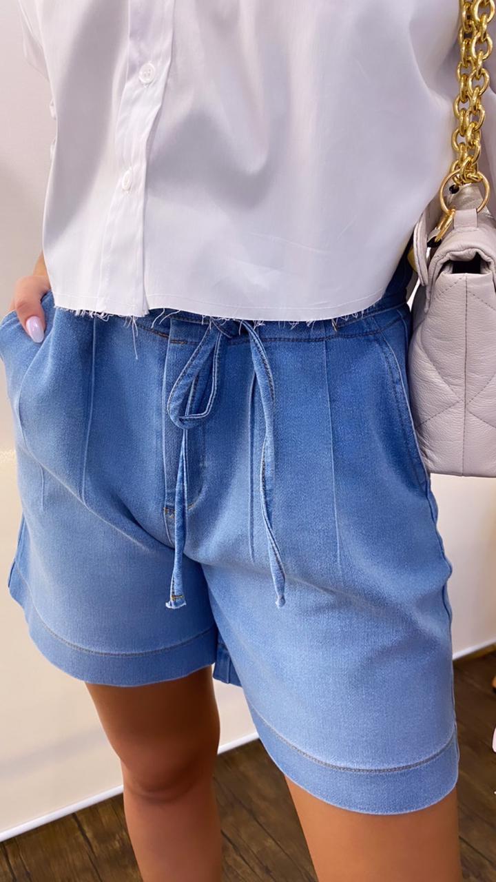 Shorts Morina Jeans Rinah Moletom Detalhe Pregas/Amarração 2% Elastano