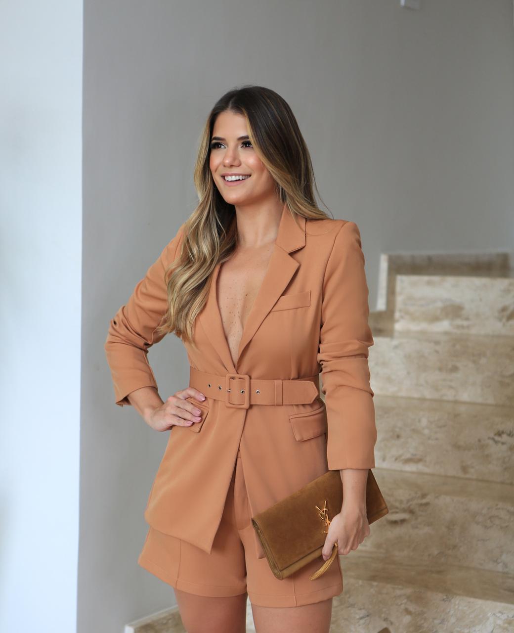 Shorts Nicole Alfaiataria Com Cinto 5%Elastano