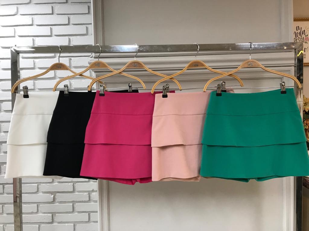 Shorts Saia Diana Crepe Camada Dupla 5 porcento de elastano