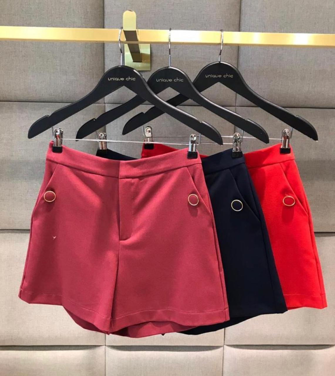 Shorts Unique Alfaiataria 5% elastano Cores Vermelho e Marinho