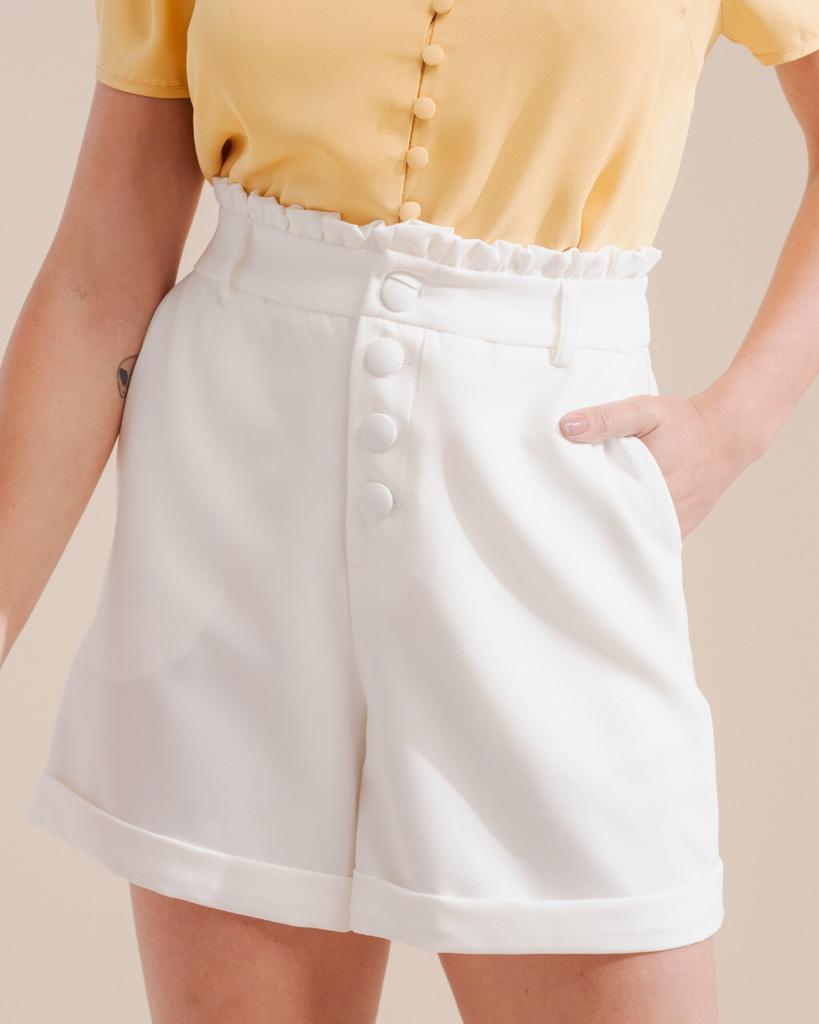Shorts Unique Alfaiataria Detalhe Botões C/ Elastano