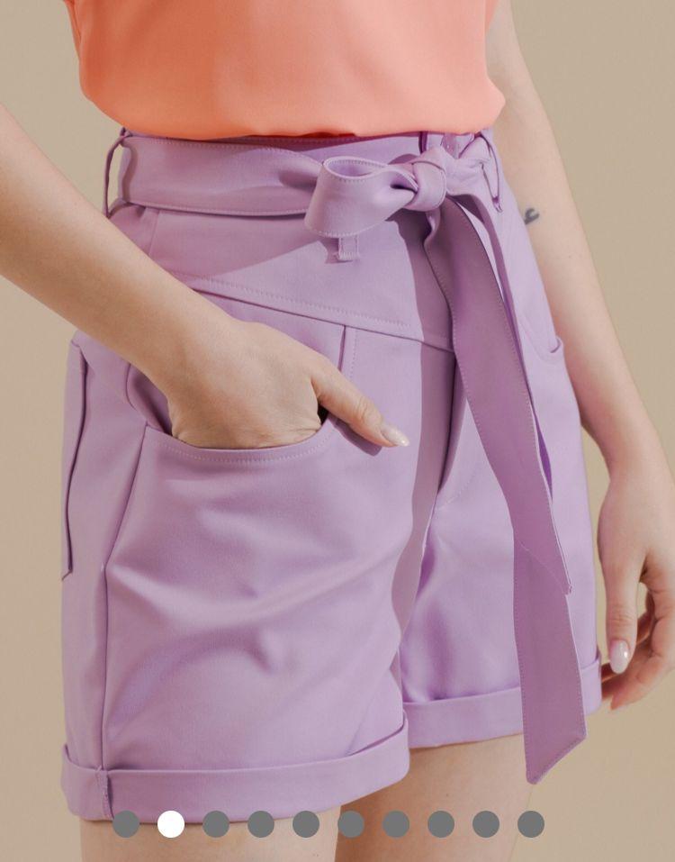 Shorts Unique Sarja Poliamida Detalhe Recortes C/ Amarração Cintura