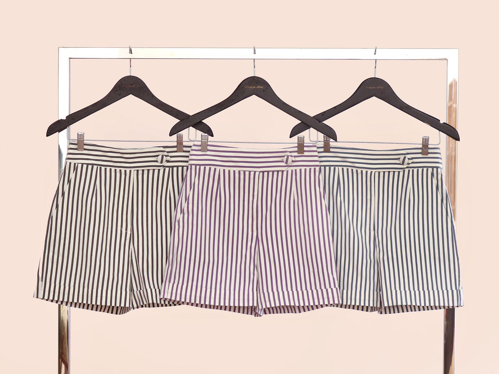 Shorts Unique Sarja Poliamida Listrado 3% Elastano