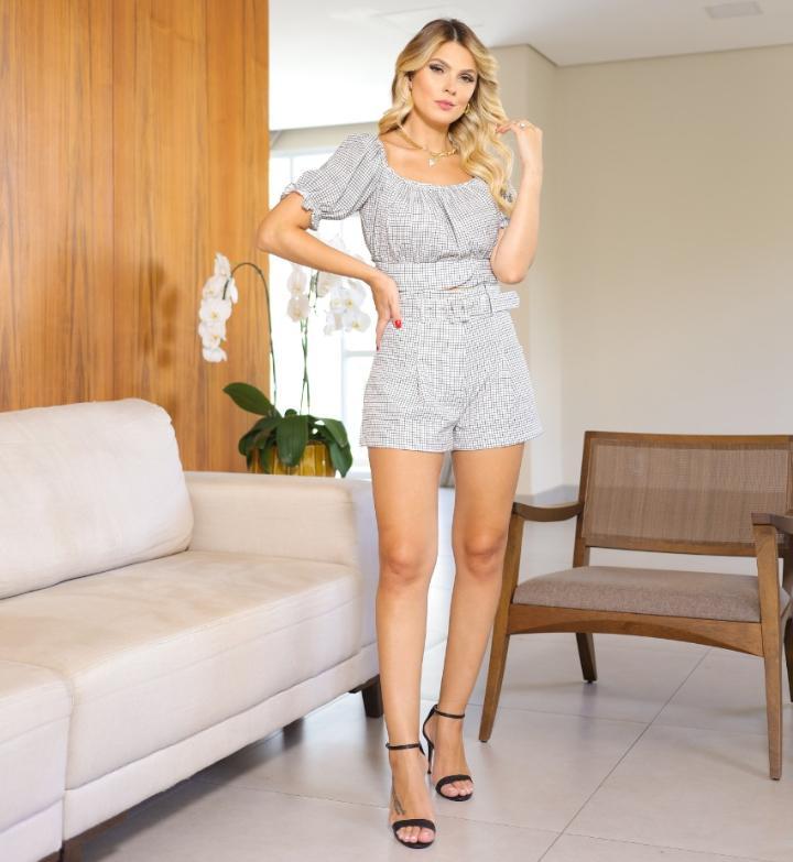 Shorts  Valentina Alfaiataria 10% Elastano C/ Cinto Pregas Estampado