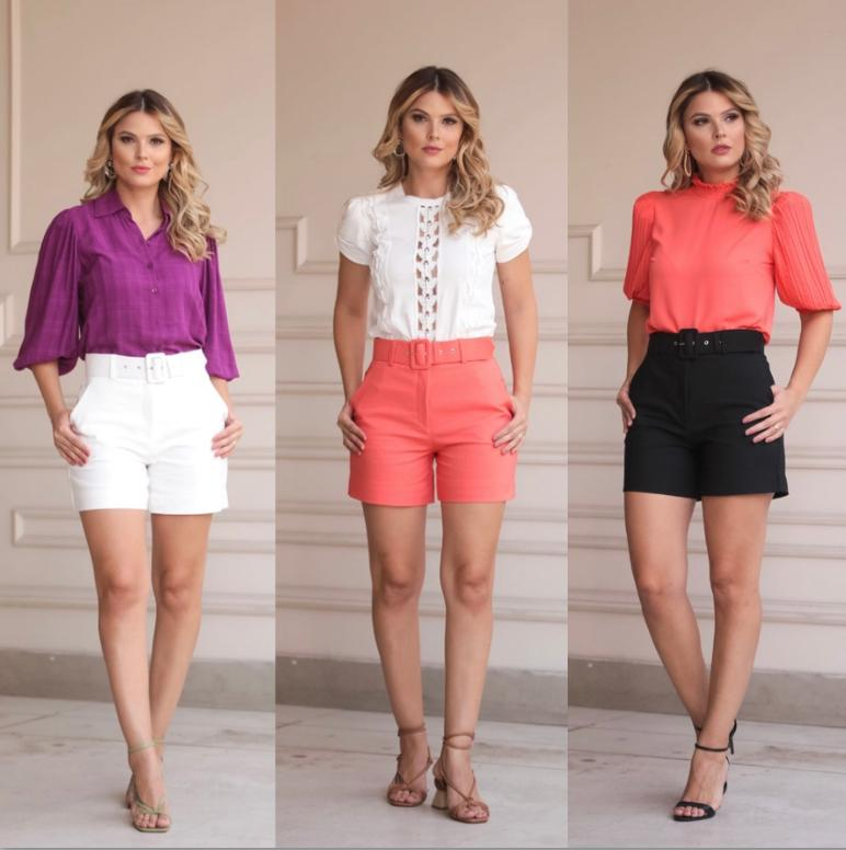 Shorts Verona  alfaiataria 4% Elastano  c/Cinto
