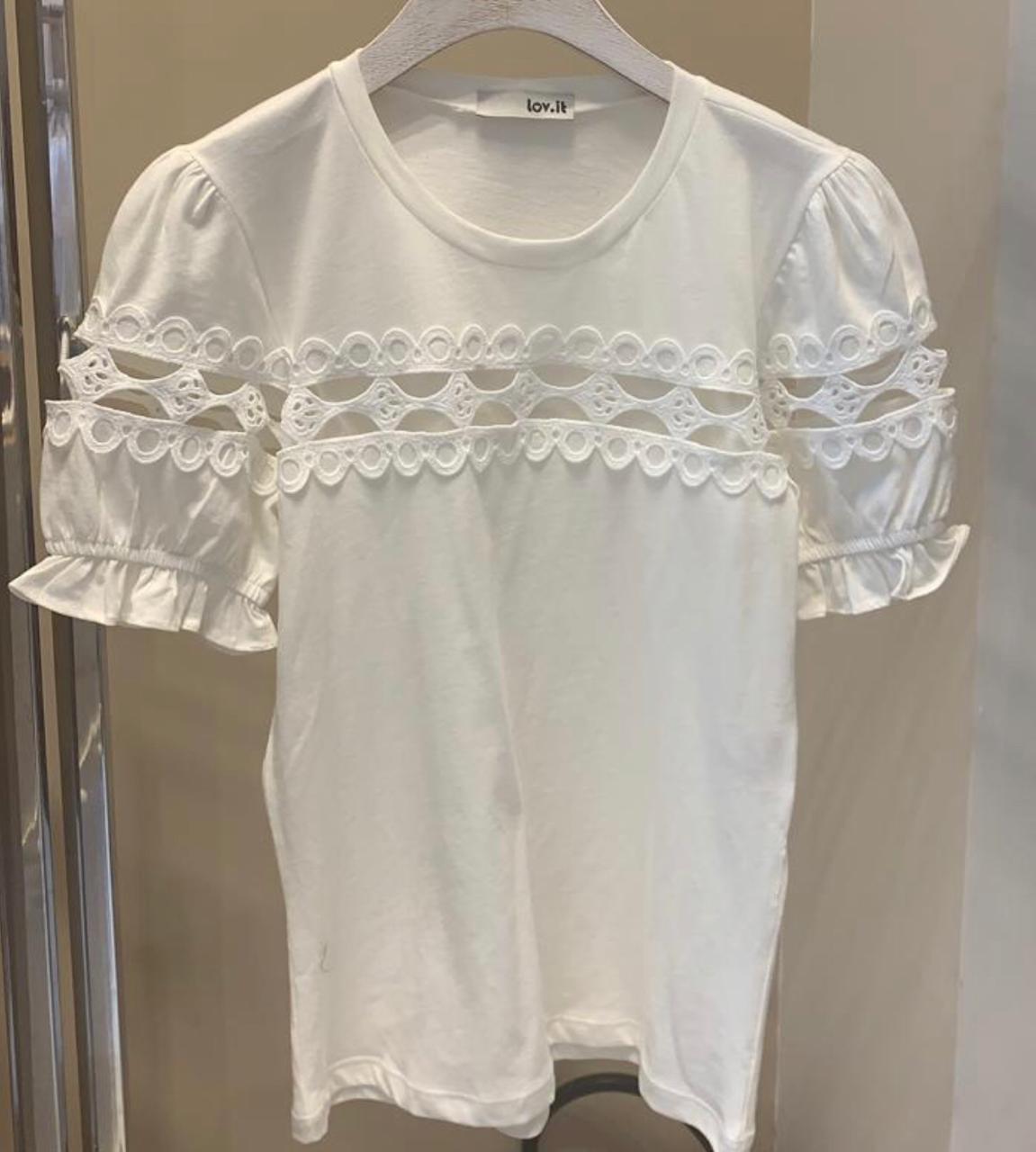 T-shirt   Alice  Malha  com Detalhe em Renda