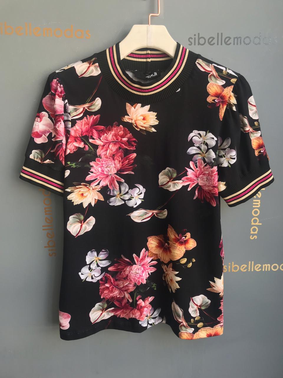 T- shirt  Andreza Floral Detalhe Lurex