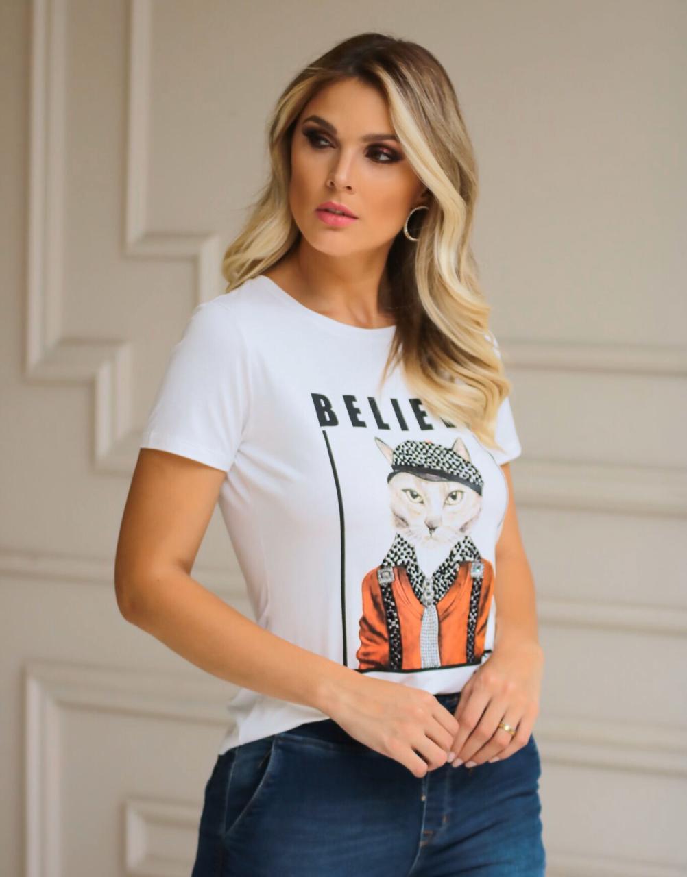 T-Shirt  Believe  Viscolycra Estampa