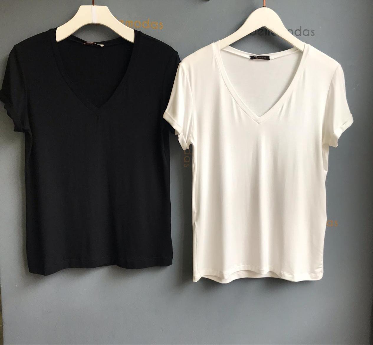 T-shirt Nina Decote V Cores Preto e Off