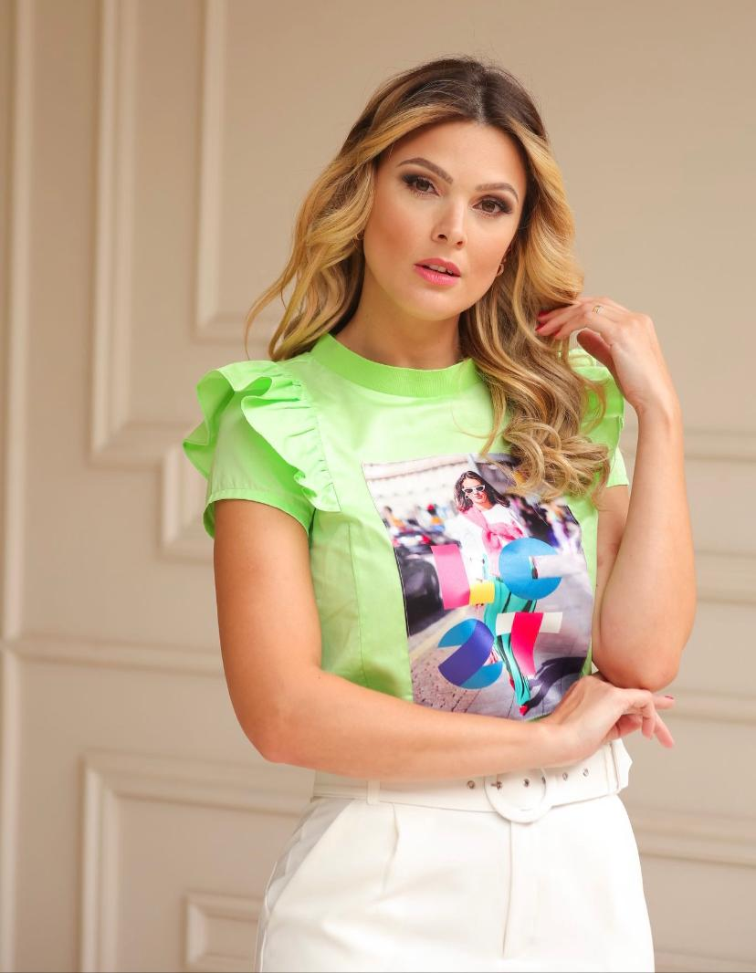 T-Shirt Leticia Tricoline Com Aplicação