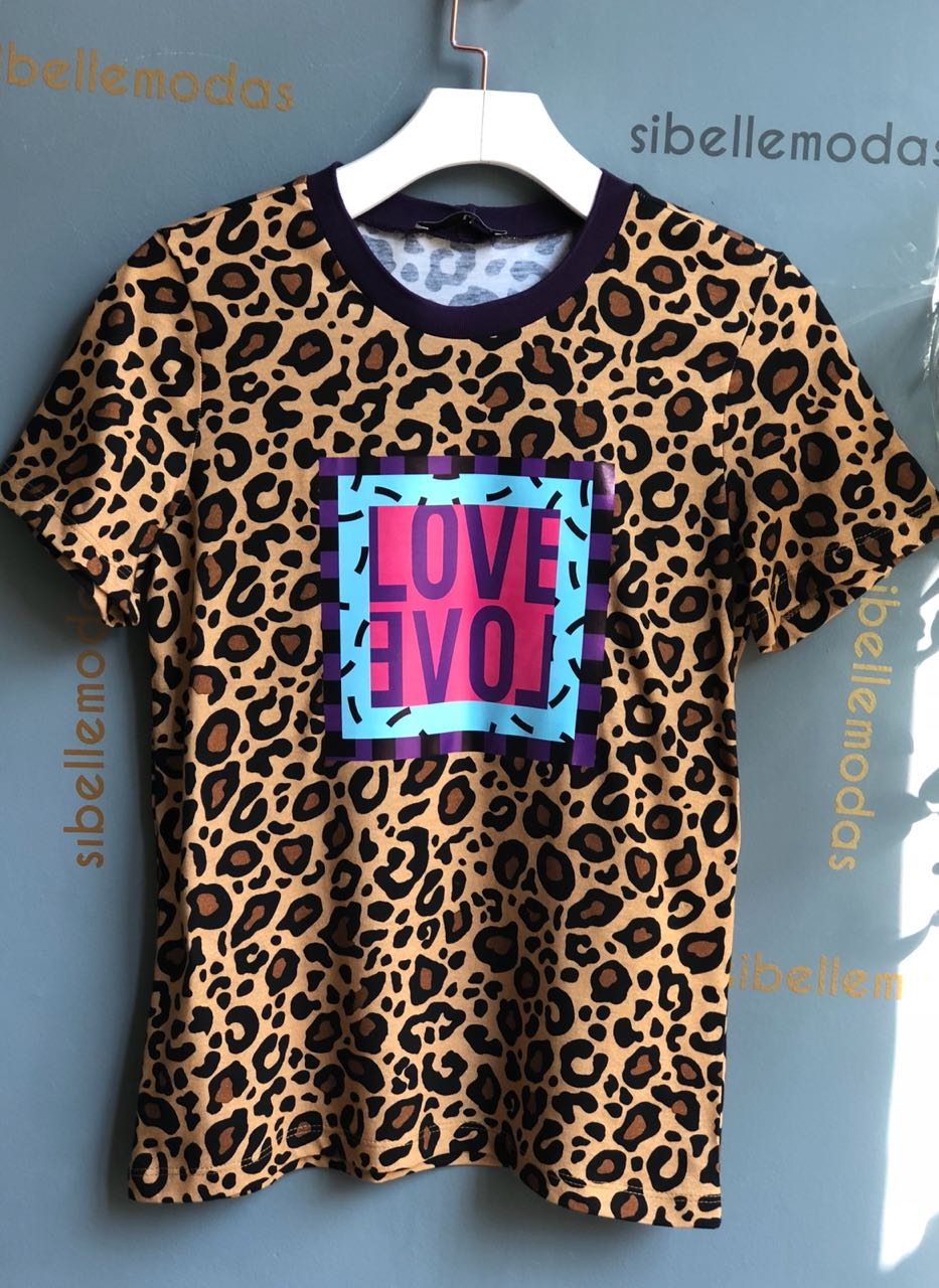 T-SHIRT LOVE ANIMAL PRINT