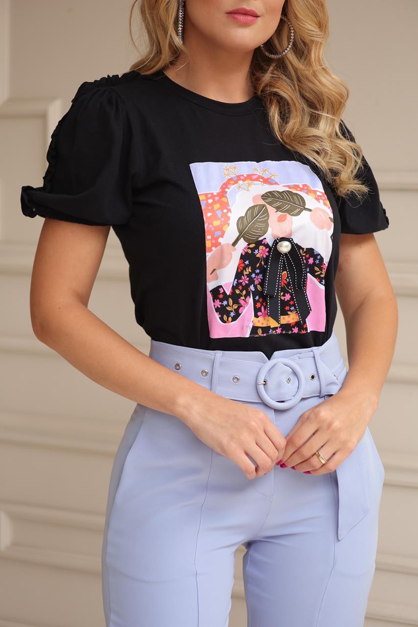 T-Shirt  Angelica Manga curta Estampa  Moça