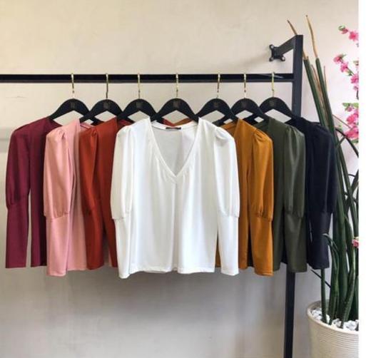 T-Shirt Mel Manga Bufante Malha (moletinho)