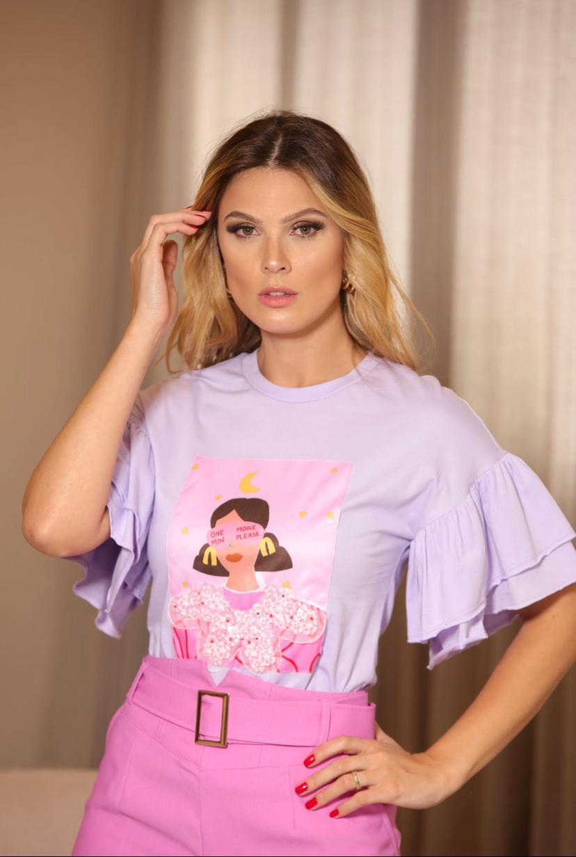 T-Shirt Melina Collor Manga Babado