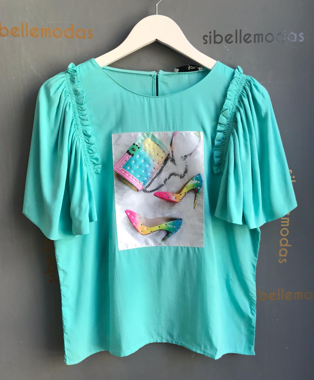 T-Shirt Melissa Collor Manga Babado C/ Aplique