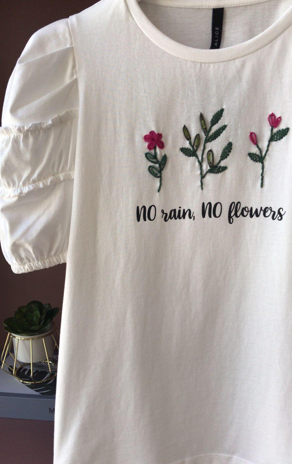 Blusa Mia Detalhe Bordado Flores Manga Franzida Bufante 100% Algodão
