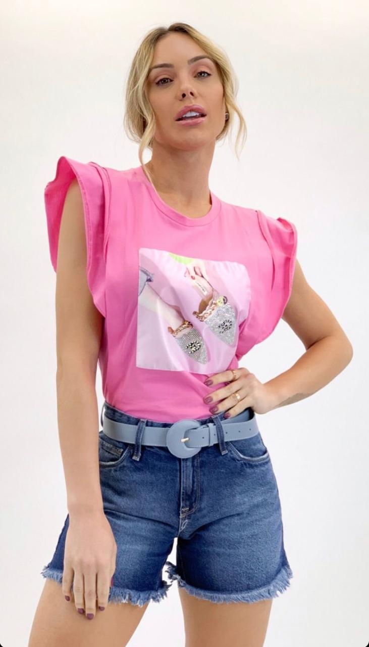 T-Shirt Milena  Manga Curta com Aplicação  Mulle