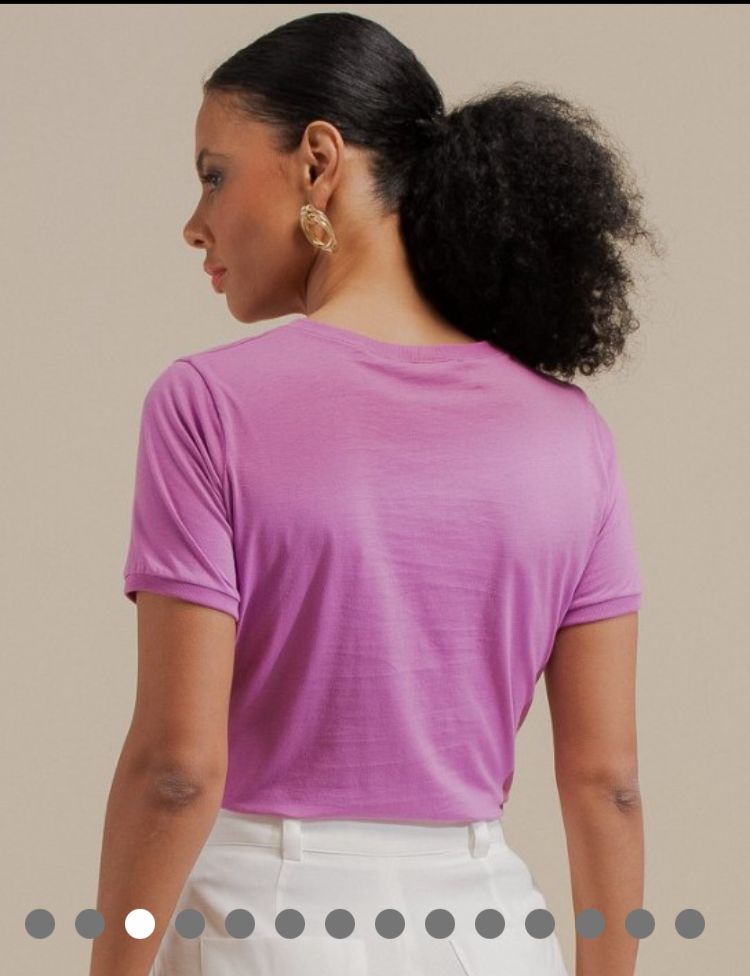 T-shirt Monise Algodão Detalhe Bolso Babadinhos