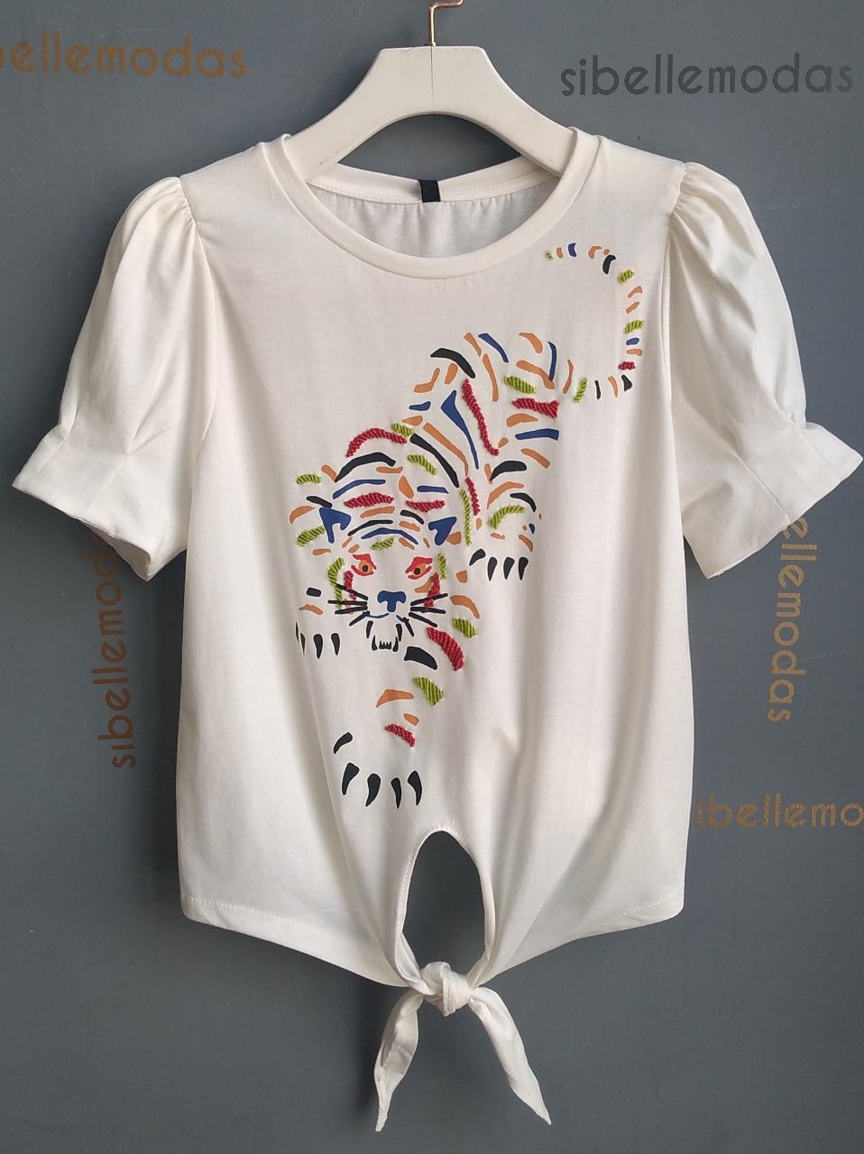 T-shirt Tigre  Bordada Missangas Detalhe Amarração