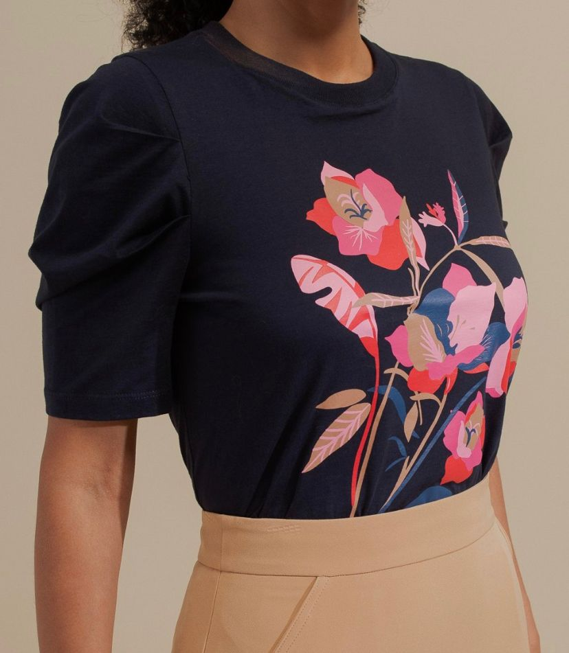 T-shirt Veredas Malha Algodão Floral