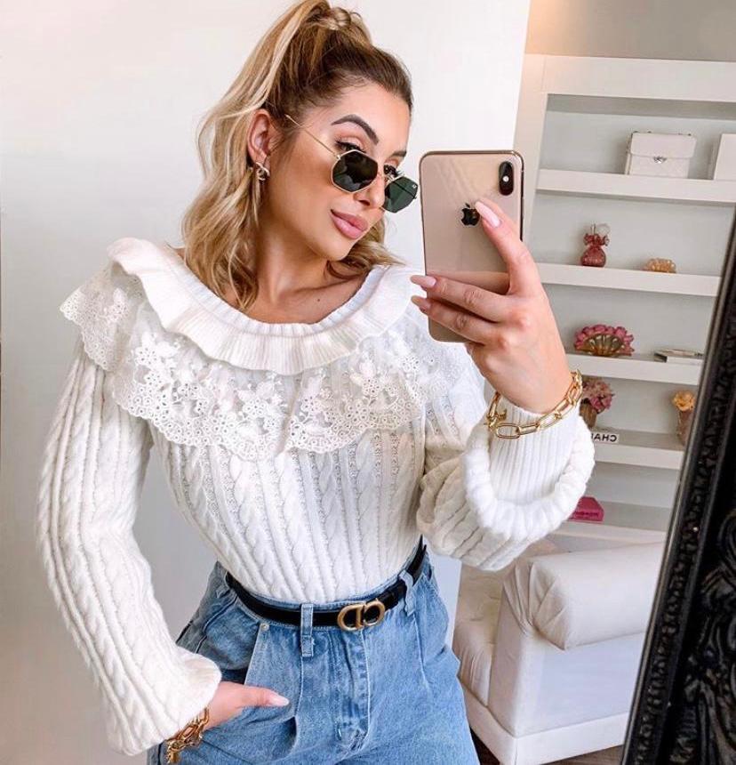 Tricot Monique Gola Com Detalhe Renda e Tule