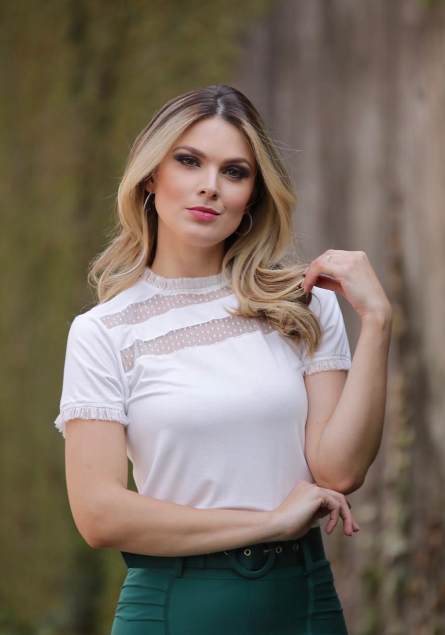 Tshirt  Julie  Nuxx Viscolycra  Gola e MG com Babados