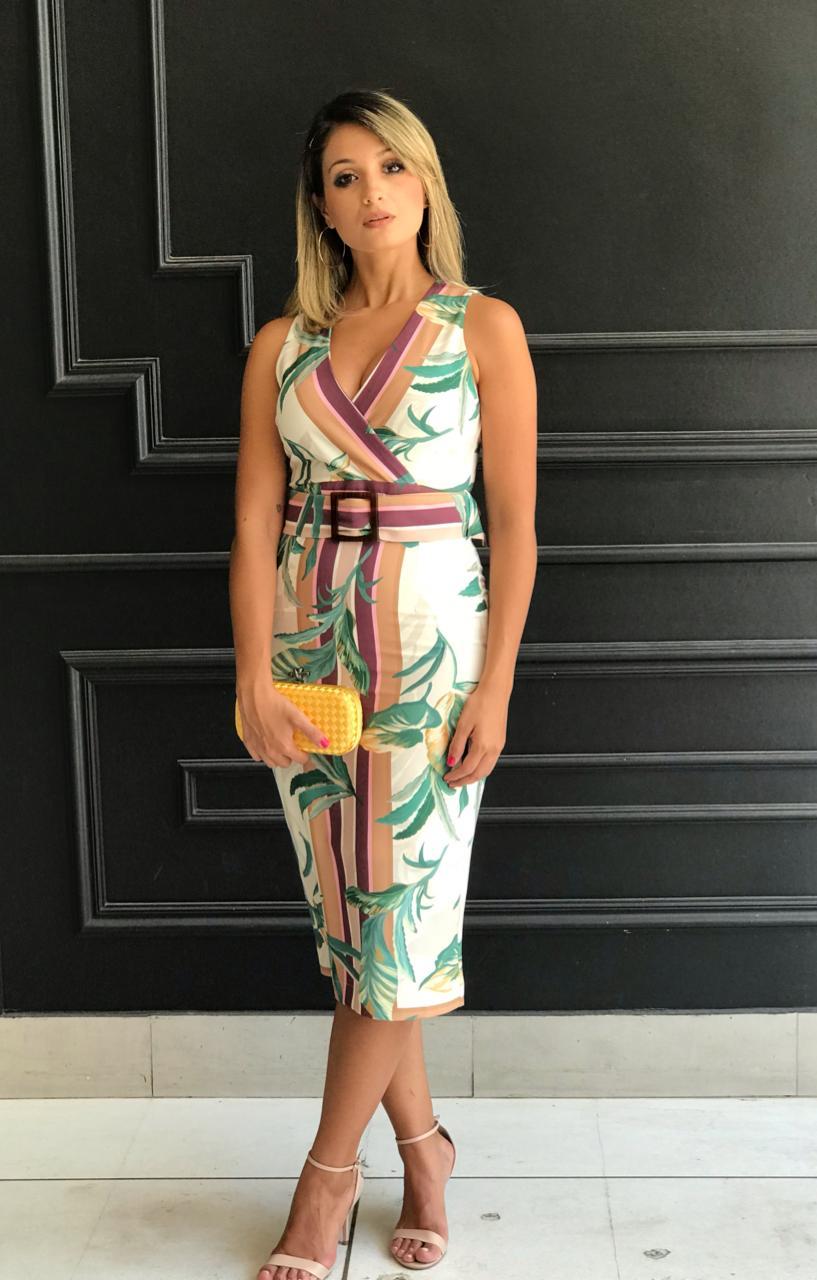Vestido Bete Print Folhagens Tecido Crepe  com 5 % elastano (Forro) + Cinto