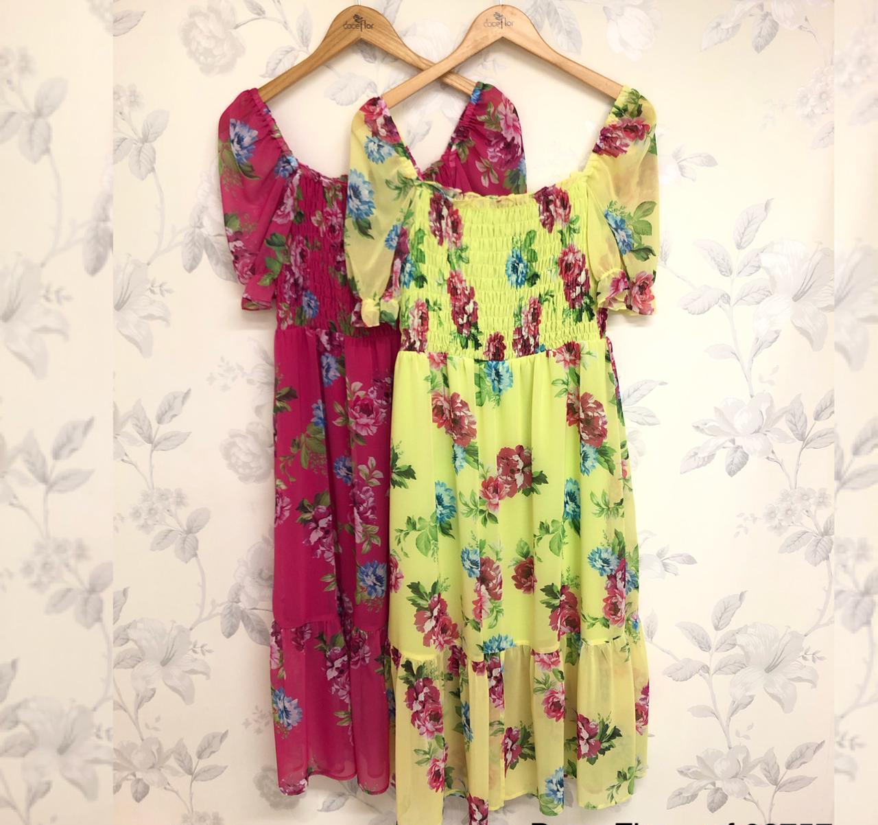 Vestido Adele Crepe Midi Floral Detalhe Lastex